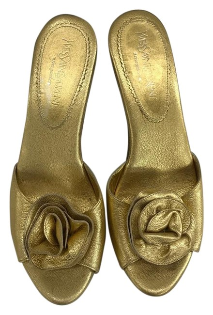 Item - Gold With Rosette Mules/Slides Size EU 38 (Approx. US 8) Regular (M, B)