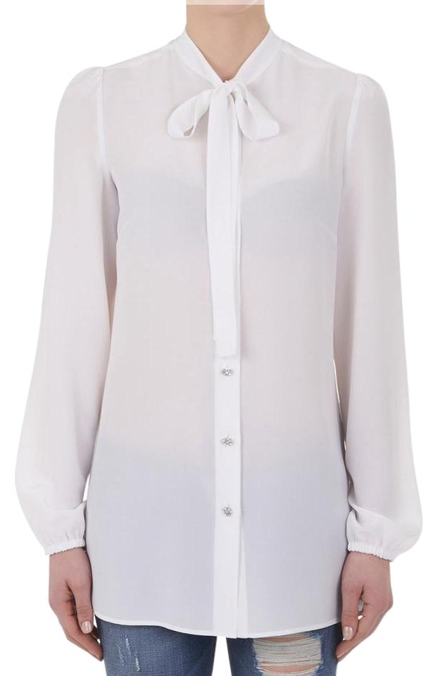c8ee0ff1d Dolce&Gabbana Dolce & Gabbana Button Up Blouse Rhinestone Silk Button Down  Shirt White Image 0 ...