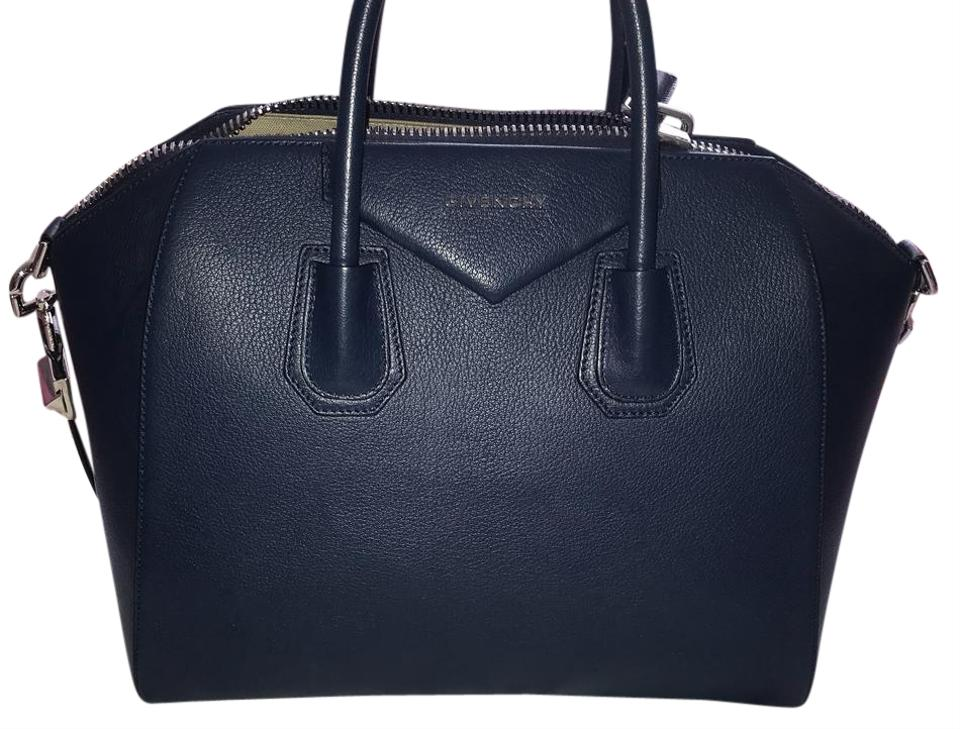 637b59a7e6 Givenchy Antigona Medium Navy Blue Leather Satchel - Tradesy