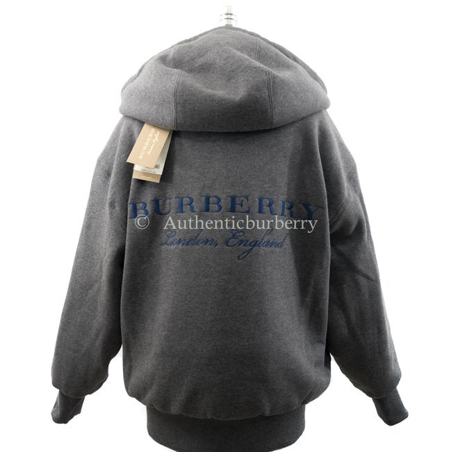 Item - Bright Navy / Grey Women's Reversible Down-filled Hooded Bomber Small Jacket Size 4 (S)