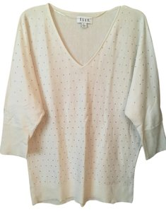Elle Rhinestones Embellishments White V Neck Sweater
