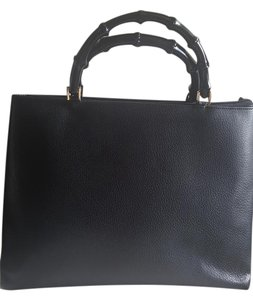 Gucci Bamboo Leather Tote in Black