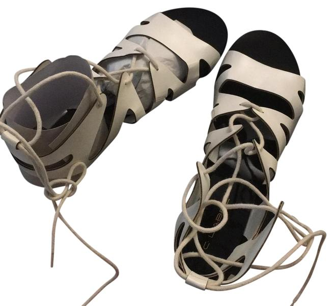 Item - White Black Sole with Laces Flatty Sandals Size US 10 Regular (M, B)