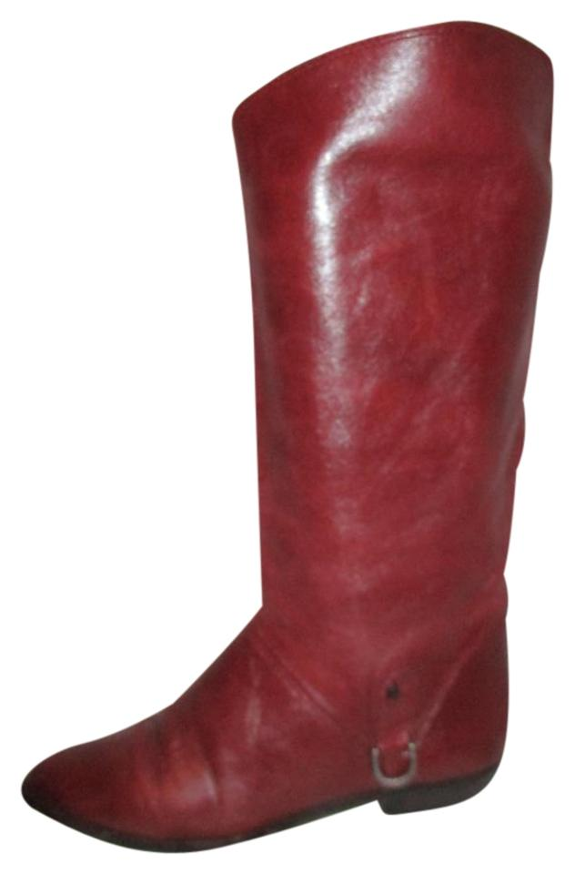 Etienne Aigner Burgundy Vintage Leather Riding Style Style Style Boots/Booties 4954d2