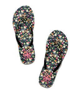 Tory Burch Floral Flip Flops Summer Flat Black Floral Sandals