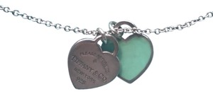 Tiffany & Co. Return to Tiffany mini double heart tag pendant in silver with Tiffany blue enamel finish