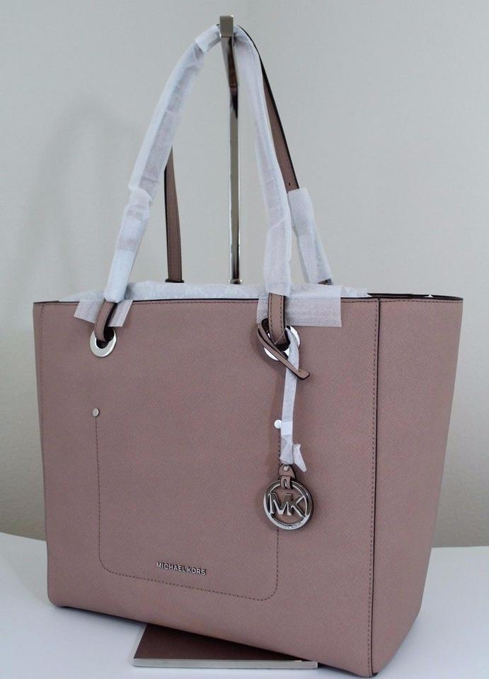 c7dfd1cb910d Michael Kors Walsh Large East West Top-zip Fawn/Silver Leather Tote ...