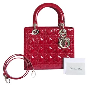 Dior Christian Patent Leather Cannage Lady Tote Satchel in Red