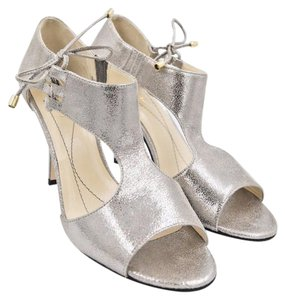 Kate Spade Metallic Leather Cateantracite silver Sandals