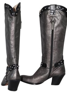 Luciano Padovan Snake Print Western Silver Boots