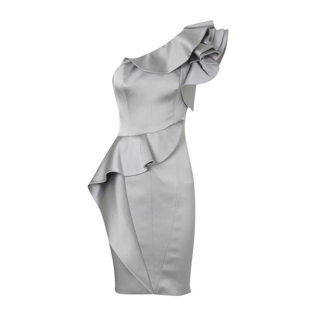 Item - Silver Asymmetrical One Shoulder Ruffle Mid-length Cocktail Dress Size 4 (S)