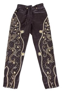 Versace Gianni Gianni Leather Leather Gold Studded Straight Pants black