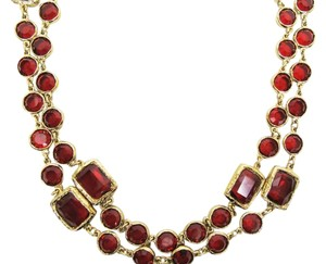 Chanel Vintage Ruby Red Crystal Chicklet Gold Plated Necklace Sautoir