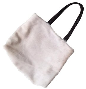 Desmo Tote in white pony hair brown straps