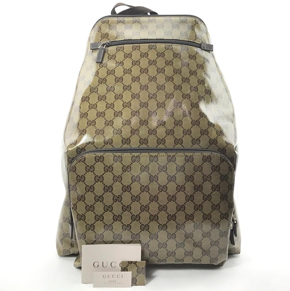 Gucci 179606 Gg Guccissima Crystal Coated Beige Canvas Backpack ... e95d97e4ebfc8