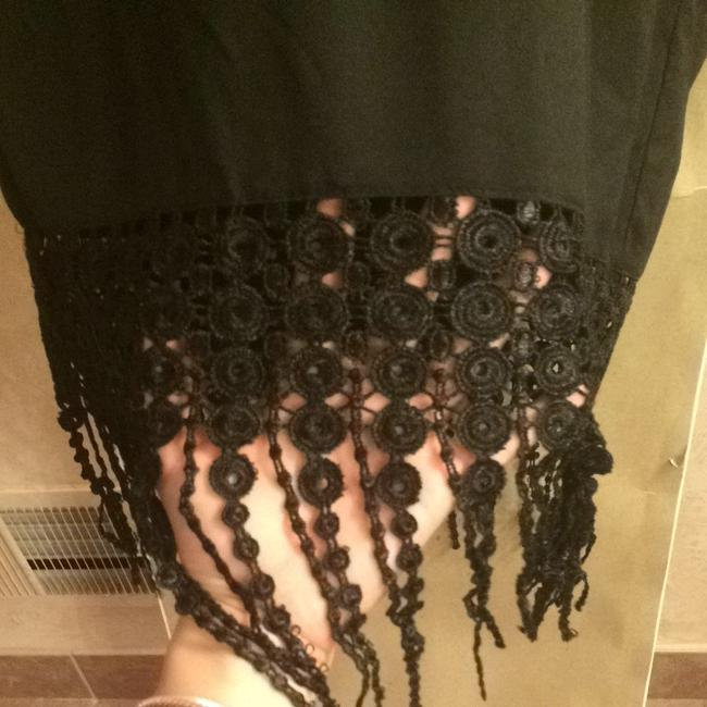 Other Black Fringe Crop Short Sleeved Top