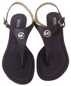 Michael Kors Mk Silver Hardware Leather Mk Logo Navy Navy Blue Sandals
