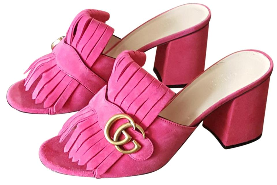 02c9749cf8632d Gucci Marmont Fringe Marmont Suede Marmont Marmont Heels Pink Mules Image 0  ...
