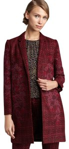 Tory Burch Embroidered Tweed Winter Floral Coat