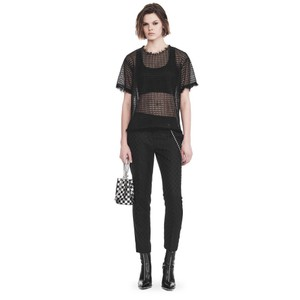 Alexander Wang Lace Trim Lace Blouse T-shirt Top Black