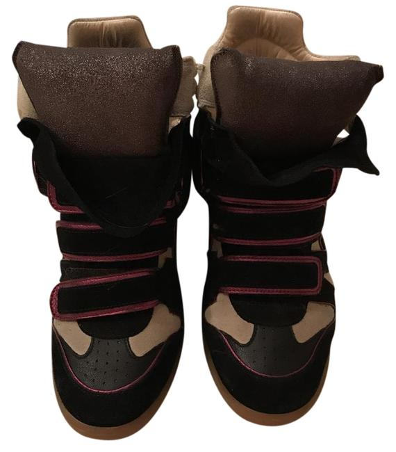 Item - Black/Pink/Beige Suede Wedges Sneakers Size EU 38 (Approx. US 8) Regular (M, B)