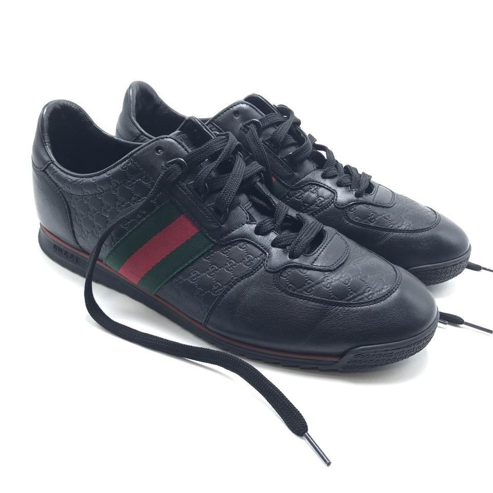 41894d30a Gucci Black Leather with Web Microguccissima Men's 10 G Sneakers ...