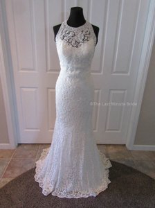 MADISON JAMES Ivory Silver Lace Mj18 Feminine Wedding Dress Size 8 (M)