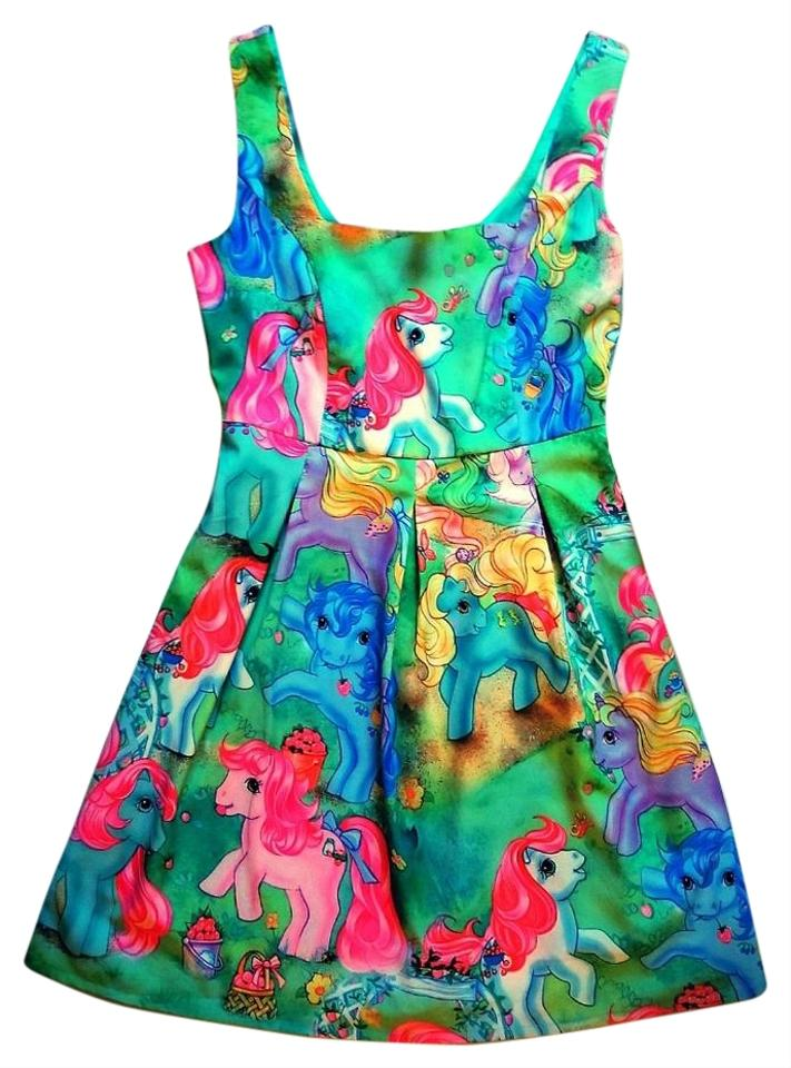 iron fist green multi my little pony fit flare pin up short casual
