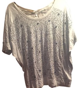 Express Sequin Casual Comfortable Soft Short Sleeved Scoop Back T Shirt Gray