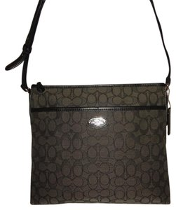 Coach Smoke Jacquard Outline Signature Monobrammed Slim File Cross Body Charcoal Gray & Black Messenger Bag
