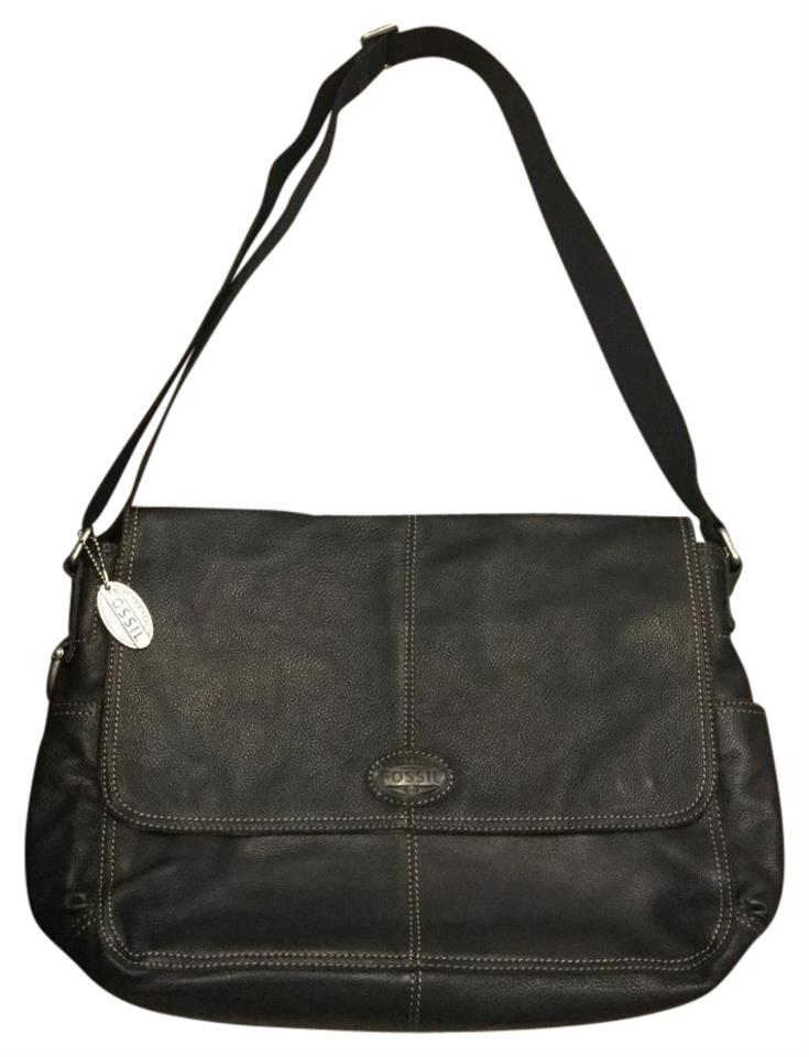 0c2bca182f8 Fossil Laptop/Office Crossover Black with Silver Hardware Soft Leather  Laptop Bag