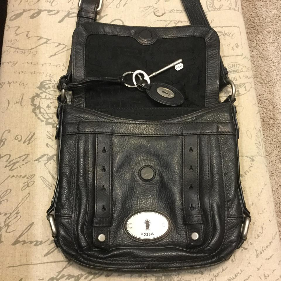 782beb2a320 Fossil Vintage Black with Silver Tone Hardware Soft Leather Cross Body Bag