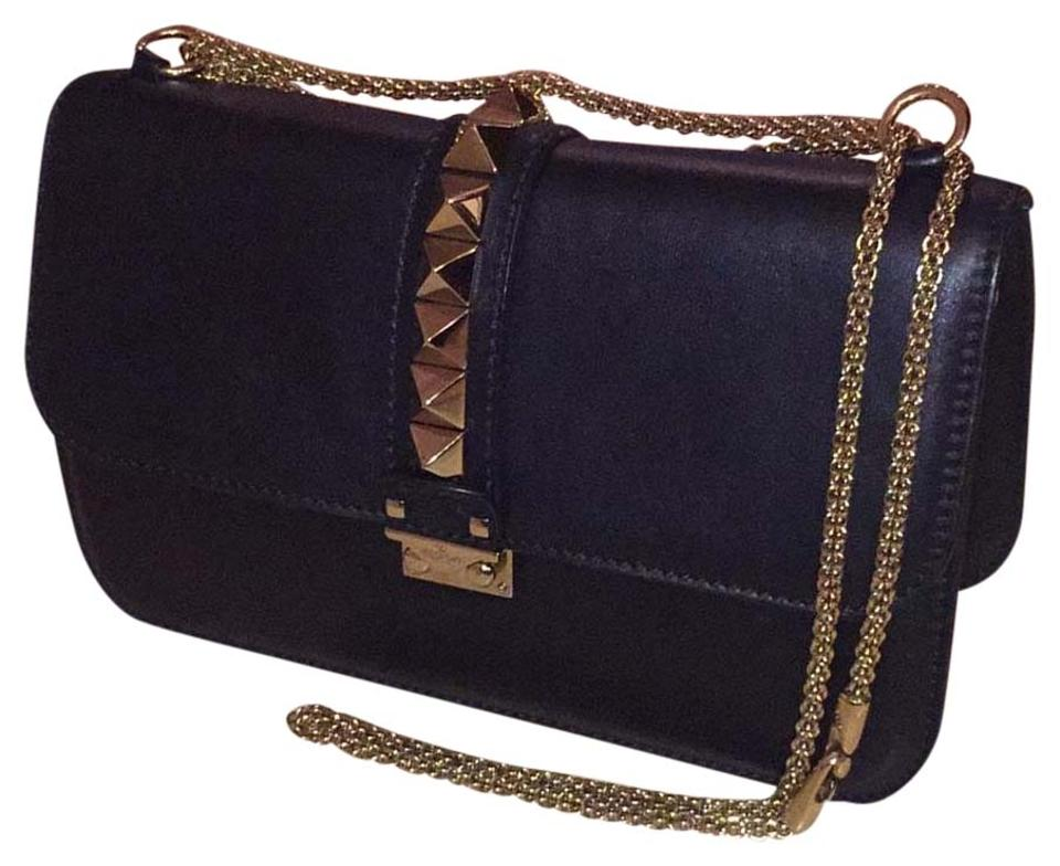 e3a779f510 Valentino Rockstud Garavani Medium Large Glam Black Leather Shoulder Bag