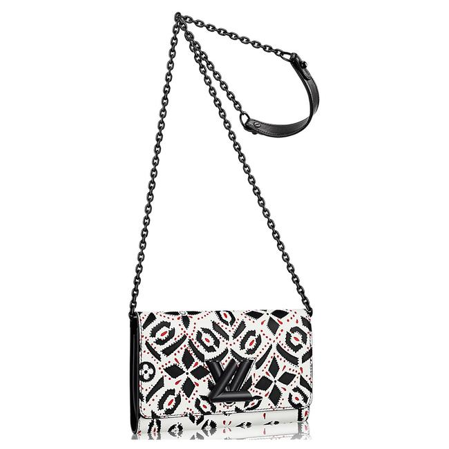 Item - Twist Limited Edition Lock Black White Graphite Print Wallet Chain Multicolor Cowhide Leather Messenger Bag