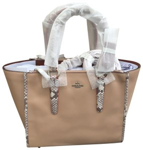 Coach Python Tan Large Snake Tote in silver/nude