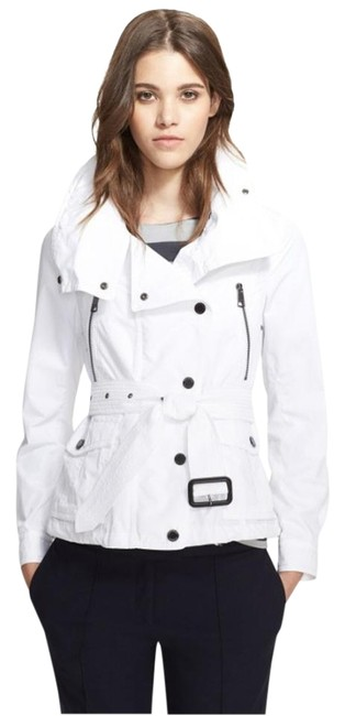 Item - White Short Trench with Hood Jacket Size 6 (S)