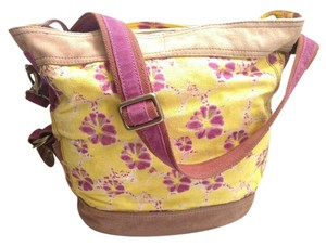 Lucky Brand Printed Canvas Suede Trim Runaway Bucket Durable Tote in Multi-Color