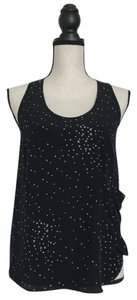 Central Park West Silk Top Black and White Print