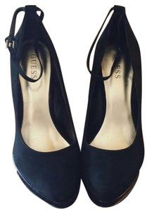 Guess Suede Wedge Heel Ankle Strap Black Wedges