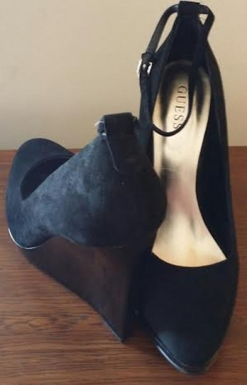 Guess Suede Heel Ankle Strap Never Been Worn Still In The Box Black Wedges