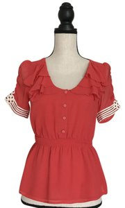 Odille Silk Peplum Tiered Embellished Top Coral