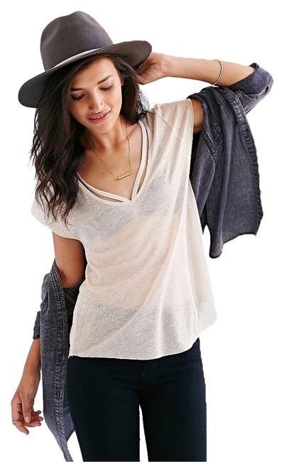 Silence + Noise Edgy Cut-out V-neck Sparkle Semi Sheer Lightweight Top Gold