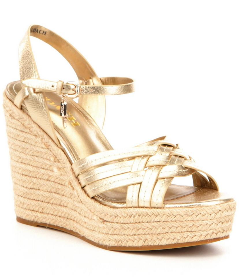 1485bc1581742 Coach Gold Sandals … Sentinel LADIES GOLD WEDGES GLADIATOR COMFY ELASTIC  OPEN-TOE STRAPPY SANDALS SHOES 4-8