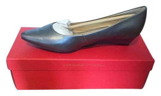 Adrienne Vittadini Leather Flats Pewter/Gray Wedges