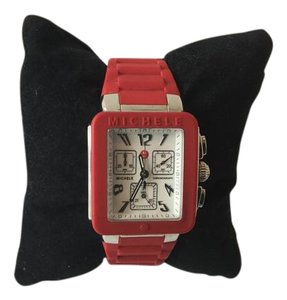 """Michele Michele Red """"Park Jelly Bean Chronograph"""" Stainless Steel Watch"""