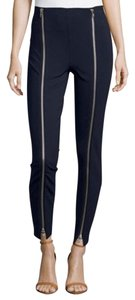 Romeo & Juliet Couture Zippers Embellished Ponte Ankle Skinny Pants black