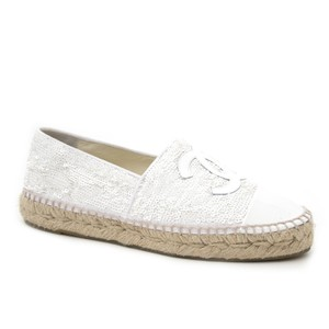 Chanel Sequin Double Soled Espadrilles White Flats