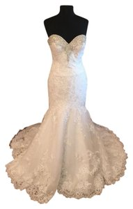 Allure Bridals Ivory/Silver Lace 2667 Formal Wedding Dress Size 8 (M)