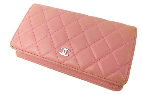 Chanel Pink Clutch Quilted Lambskin Leather Cc Logo Long