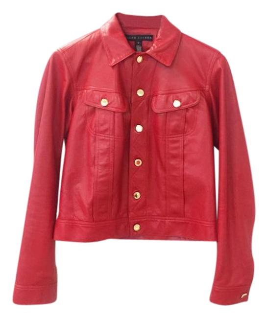 Ralph Lauren Collection Red Super Sale Leather Mason Trucker Jacket Size 2 (XS) Ralph Lauren Collection Red Super Sale Leather Mason Trucker Jacket Size 2 (XS) Image 1